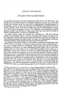 Harald, Heckmann Ein später Brief von Jakob Stainer