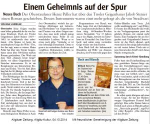 Rezension in der Allgäuer Zeitung vom 04.10.2014